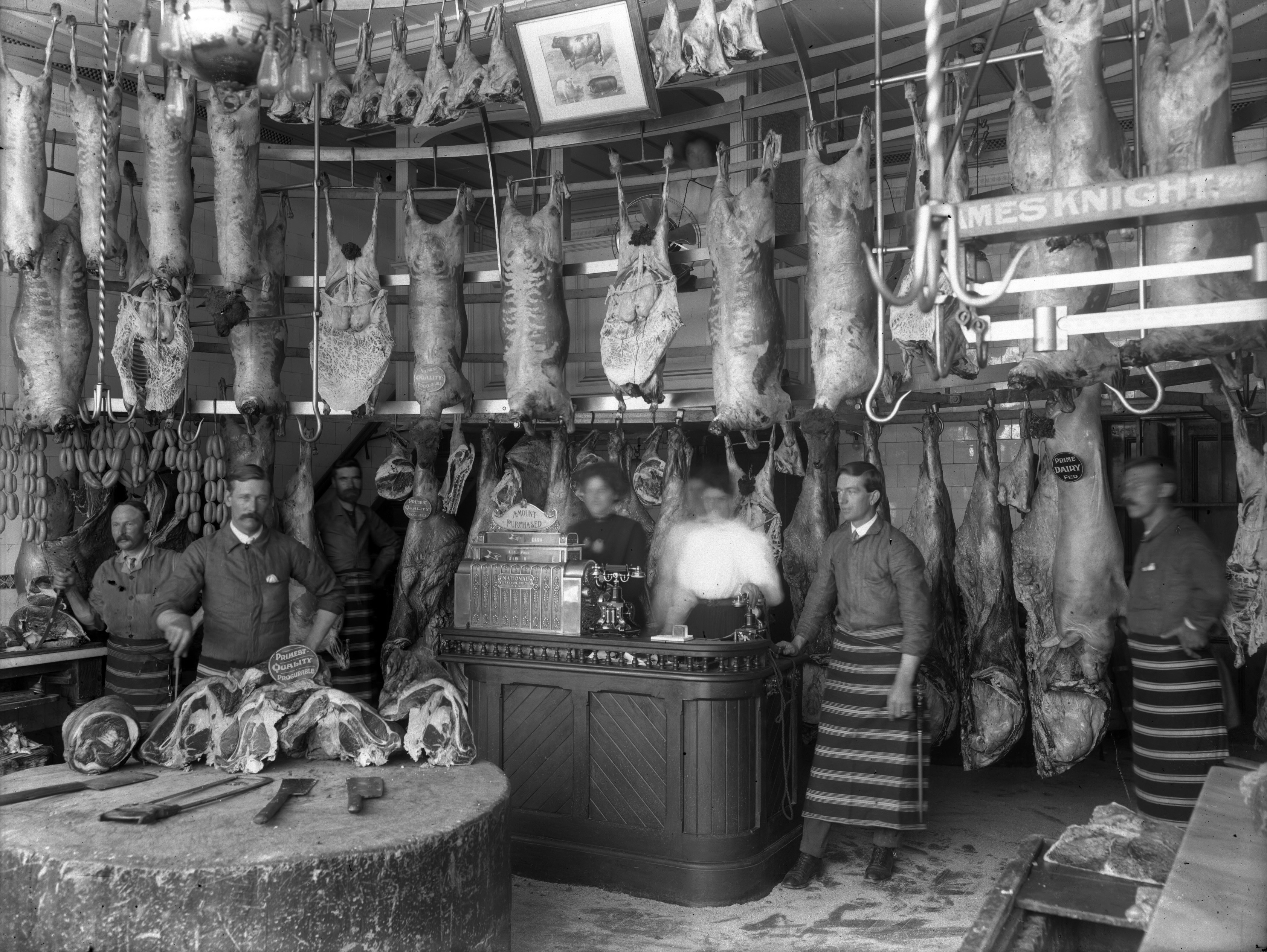 Knight's Butchers, High Street, Christchurch. Photo from Knight Family Collection and published on http://www.highstreetstories.co.nz